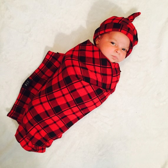 Plaid Baby Quilt: Buffalo Plaid Baby Blanket // Black And Red // Christmas Baby