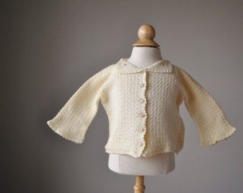 1950s Cream Knit Cardigan~Size 3 Months