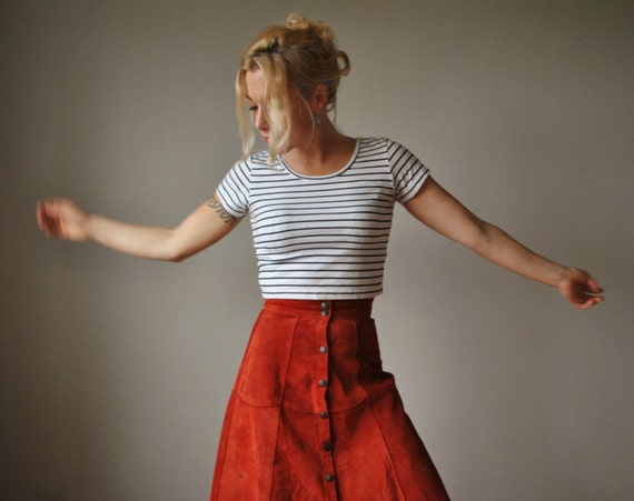 1970s Mahogany Suede Skirt, size Extra Small (00/0)