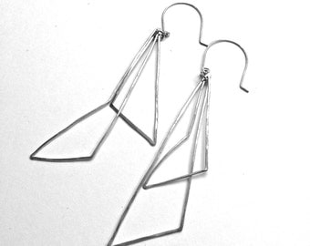 Pair of Long Lightweight Sterling Silver Handmade Earrings - one of a kind