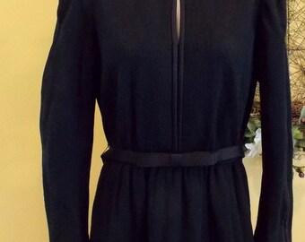 Vintage Leslie Faye black woven satin trims dress
