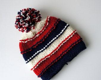 Baby Hat, Newborn Hat, YOUR TEAM COLORS, Pom Pom Knit Baby Hat, Baby Photo Prop, Newborn Hat, Knit hat