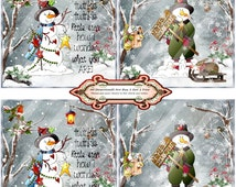 Christmas 1391 Snowmen Coasters Printable Handmade Digital Collage Sheet