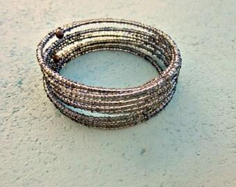 Beaded Smoke Gray Glass Adjustable Memory Wire Cuff Bracelet: Mirage