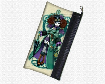 Myka Jelina Temple Steampunk vampire girl cosmetics bag wristlet, travel bag,