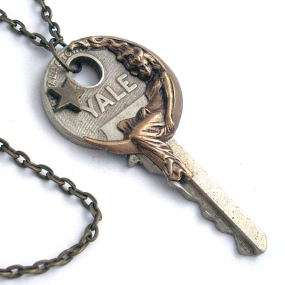 She Hung the Moon - Vintage Key Necklace Jewelry