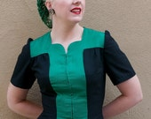 Hair Snood In Emerald Green Crocheted from Vintage 1940's Design Retro Pinup