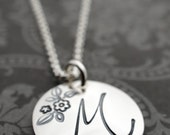 Floral Initial Necklace in Sterling Silver - Personalized Monogram Jewelry by Eclectic Wendy Designs - Gift for Mom, Daughter, Teen