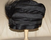 Reduced VINTAGE 1920s Art Deco Knockout Black Feathered SATIN CLOCHE Small Bonnie Celeste Looks Like Erte Mint Condition