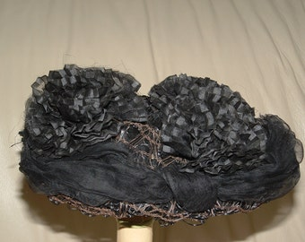 ReDuced Rare VINTAGE VICTORIAN Black Mourning HAT Sequins Hat Pins Milliner Special 1880s 1890s