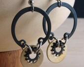 Steampunk Dangle Earrings Brass Hardware Jewelry Industrial Eco Friendly