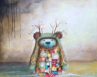 Surrealism Print - Bear  - Fine Art - Creature - Animals - Blue - Pink - Grey - Home deco - wall art - ocean - sea - sky