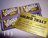 Willy Wonka birthday party Wonka Bar & Golden Ticket invitations Wonka candy bar wrappers Willy Wonka invitations printable DiY editable PDF