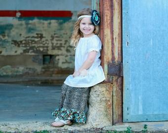 Girls ruffle pants - Leopard pants - BOHO pants - bohemian pants - ruffle pants - baby pants -  baby ruffle pants - toddler ruffle pants