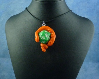 Orange and Marbled Green Sanity Check Necklace - Tentacle Wrapped D20 Pendant