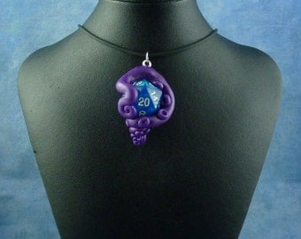 Purple and Blue Sparkle Sanity Check Necklace - Tentacle Wrapped D20 Pendant