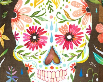Sugar Skull Art Print | Day of The Dead | dia de los muertos | Watercolor Wall Art |  | Katie Daisy | 8x10 | 11x14