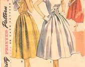 Simplicity 4556 1950s Misses Simple to Make Dress Pattern Deep V Back Womens Vintage Sewing Pattern Size 12 Bust 30