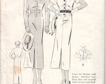 1930s Butterick 6951 Misses Sheath Dress Pattern Short or Long Sleeves Straight Skirt Womens Vintage Sewing Pattern Size 20 Bust 38 FF