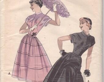 Butterick 5597 1950s Teen Date DRESS Pattern Full Circular Skirt Tucks Womens Vintage Sewing Pattern Size 12 Bust 30 UNCUT