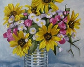 Flower Painting, Oil Painting Still Life, Sunflowers, Asters and Sweet Peas in a Tin Can, Original Art