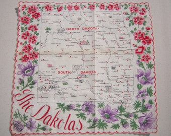 Vintage Souvenir Hankie The Dakotas North & South MWT