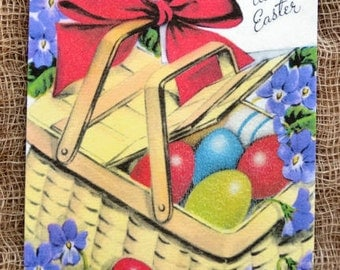 Retro Easter Eggs In Basket Tags #313