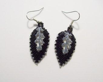 Russian Leaf Beadwork Earring , Beaded Leaf Earrings , Bead woven Earrings , Dangel Earring , Handmade Earring , Seed Beaded Earring