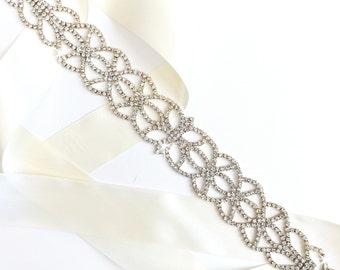 Art Nouveau Rhinestone Wedding Dress Sash in Silver - Rhinestone Encrusted Bridal Belt Sash - Crystal Extra Wide Wedding Belt