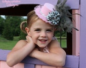 Pink & Silver Gray Baby Mini Top Hat Headband Fascinator - Vintage Baby Over The Top Flower Hat - Toddler/Girl Holiday/Pageant Photo Prop