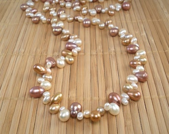 Toffee White Pearls Necklace Very Long Necklace Chocolate Pearls Champagne Freshwater Pearls Long Necklace Multicolor Statement Toffee Brown