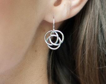 Celtic knot earrings, sterling silver earrings, friendship, sister gift, best friends, love knot earrings, silver knot, bridesmaid gift