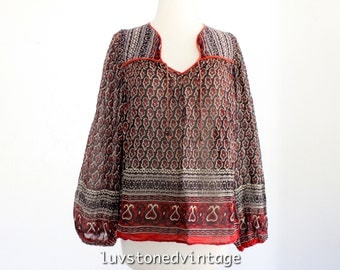 70s Vintage S. Kumar Indian India Sheer Cotton Gypsy Gauze Festival Boho Hippie Blouse Top Shirt . XS . SM . 891.10.11.14