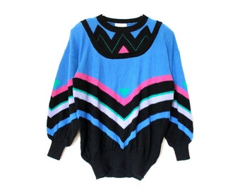 80s Super Soft Slouch Batwing Knit Boho Retro Punk New Wave Stripes Sweater . SML . D040 . 959.1.27.15