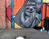 Bulldog and Mural in Downtown LA, Photograph,Sloth