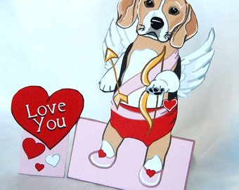 Cupid Beagle - Desk Decor Paper Doll