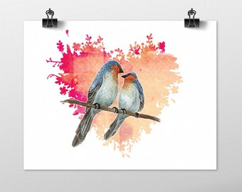 Lovebirds Art Illustration Print, Bird Art Romantic Pink Heart Birds Nature Animal Artwork Wall Art, Valentines Anniversary Wedding Gift