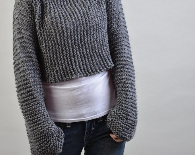 Hand knit eco cotton sweater - Little cover up top in Charcoal-ready to ship