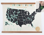 National Parks Checklist Map Print - 18x24 Gold limited edition screenprint