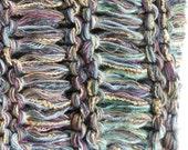 Men's cowl knit scarf neckwarmer / women's hood hat, blue green gray tan beige purple SOFT cotton handspun wool winter crochet dread i473