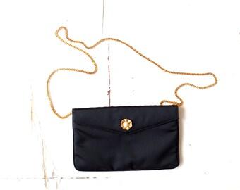 Vintage Satin Clutch / Evening Bag / Chain Purse / Convertible Purse