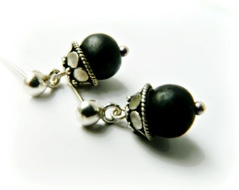 Sterling Silver Acai Earrings / Matte Black