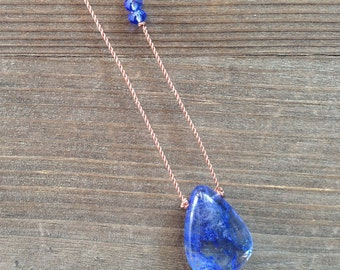Drop of the Sky Blue Swirled Quartz Necklace