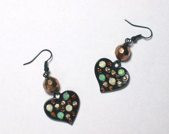 Polka Dot Sparkle Heart Earrings - Fun Rhinestone Jewelry