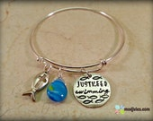 "Hand Stamped Christian Bracelet, Stainless Steel Expandable Bangle, Ichthys Fish, ""Just Keep Swimming"", Cross Charm, Religious Gift"