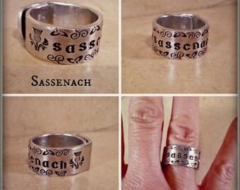 Sassenach Ring, Scottish Thistle Ring, Celtic Knot Ring, Sassenach Jewelry, Gaelic Jewelry, Hand Stamped Twist Wrap Ring
