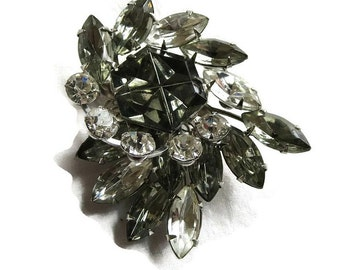 Smoke and Clear Rhinestones Vintage Layered Spray Brooch or Pin