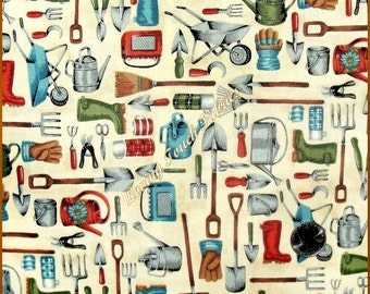 "Makower ""Dig Garden Tools"" #1019 Gardening Cotton Fabric 1/2 Yd. 18"" X 44"""