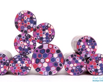 Purples, violet, light pink, dark blue & warm red polymer clay Retro Dots round cane , raw and unbaked Fimo millefiori cane by Ronit Golan