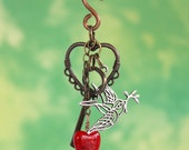 Steampunk Christmas Ornament Brass Heart & Key Silver Peace Dove Red Crackle Glass Heart
